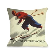One Bella Casa On Top of The World Vintage Ski Throw Pillow; 18'' H x 18'' W