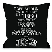 One Bella Casa Baton Rouge Louisiana Landmarks Throw Pillow; 18'' H x 18'' W