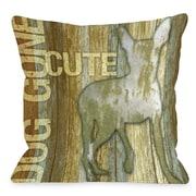One Bella Casa Doggy D cor Dog Gone Cute Wood Throw Pillow; 16'' H x 16'' W