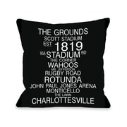 One Bella Casa Charlottesville Virginia Landmarks Throw Pillow; 18'' H x 18'' W