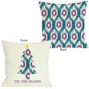 One Bella Casa Tis The Season Ikat Tree Reversible Throw Pillow; 26'' H x 26'' W