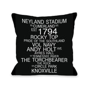 One Bella Casa Knoxville Tennessee Landmarks Throw Pillow; 18'' H x 18'' W