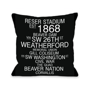 One Bella Casa Corvallis Oregon Landmarks Throw Pillow; 18'' H x 18'' W
