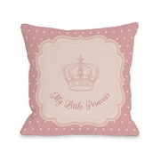 One Bella Casa My Little Princess Crown Polka Dots Throw Pillow; 18'' H x 18'' W