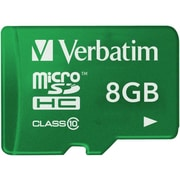 Verbatim® 8GB microSDHC (micro Secure Digital High Capacity) Class 10/UHS-1 Flash Memory Card, Green