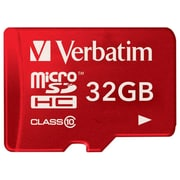Verbatim® 32GB microSDHC (micro Secure Digital High Capacity) Class 10/UHS-1 Flash Memory Card, Red