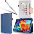 i-Blason Leather Slim Book Case For Samsung Galaxy Tab 4 10in. Tablet, Blue