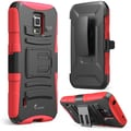 i-Blason Prime Series Dual Layer Holster Case With Kick Stand For Samsung Galaxy S5 Active, Red