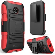 i-Blason Prime Dual Layer Holster Case With Kick Stand For Motorola Moto E, Red