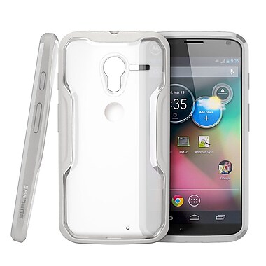SUPCase Unicorn Beetle Hybrid Case For Motorola Moto X Phone, Clear/Gray