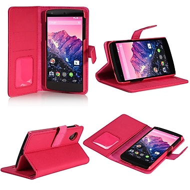 SUPCase Premium Wallet Leather Case For Google Nexus 5, Hot Pink