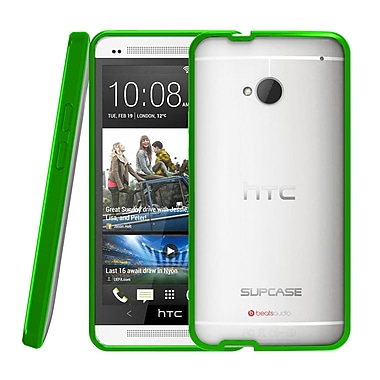 SUPCase Premium Hybrid Protective Case For HTC One M7 Smartphone, Clear/Green