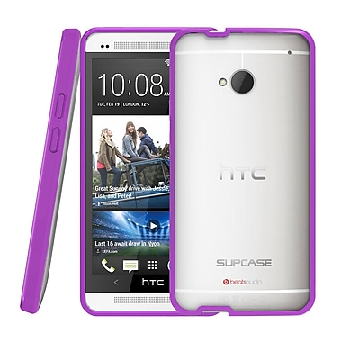 SUPCase Premium Hybrid Protective Case For HTC One M7 Smartphone, Clear/Purple