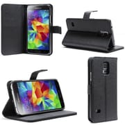 SUPCase Premium Leather Wallet Case For Samsung Galaxy S5, Black