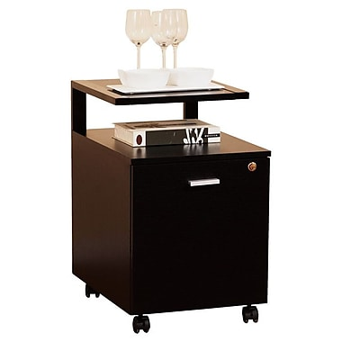 Hokku Designs 1-Drawer Modern Equipment Trolley/File Cabinet; Black