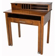 Casual Home Roll Out Desk with Hutch; Warm Brown
