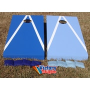 Victory Tailgate Alternating Triangle Cornhole Bean Bag Toss Game; Dark Blue and Light Blue