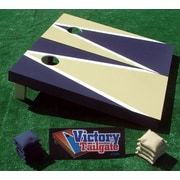 Victory Tailgate Alternating Triangle Cornhole Bean Bag Toss Game; Light Gold and Navy Blue