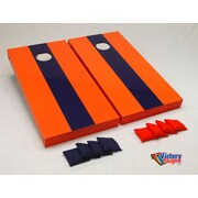 Victory Tailgate Matching Striped Cornhole Bean Bag Toss Game; Orange and Navy Blue without Stripes