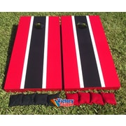 Victory Tailgate Matching Striped Cornhole Bean Bag Toss Game; Red and Black