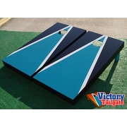 Victory Tailgate Matching Triangle Cornhole Bean Bag Toss Game; Teal and Black