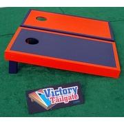 Victory Tailgate Alternating Border Cornhole Bean Bag Toss Game; Orange and Navy Blue