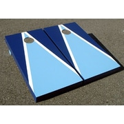 Victory Tailgate Matching Triangle Cornhole Bean Bag Toss Game; Light Blue and Blue