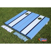 Victory Tailgate Matching Striped Cornhole Bean Bag Toss Game; White and Light Blue w/Navy Stripes