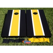 Victory Tailgate Matching Striped Cornhole Bean Bag Toss Game; Black and Yellow Gold