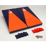 Victory Tailgate Matching Triangle Cornhole Bean Bag Toss Game; Orange and Navy Blue without Stripes
