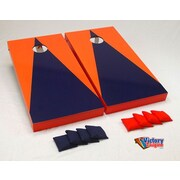 Victory Tailgate Matching Triangle Cornhole Bean Bag Toss Game; Navy Blue and Orange without Stripes