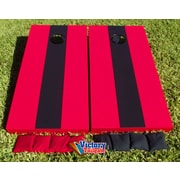 Victory Tailgate Matching Striped Cornhole Bean Bag Toss Game; Red and Black without Stripes