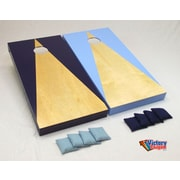 Victory Tailgate Hardcourt Cornhole Bean Bag Toss Game; Light Blue and Navy Triangle