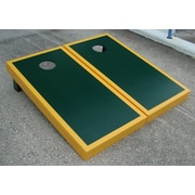 Victory Tailgate Matching Border Cornhole Bean Bag Toss Game; Green with Yellow Gold Trim
