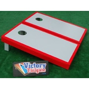 Victory Tailgate Matching Border Cornhole Bean Bag Toss Game; Gray with Scarlet Trim
