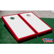 Victory Tailgate Matching Border Cornhole Bean Bag Toss Game; White with Red Trim