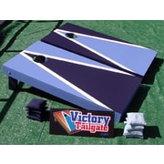 Victory Tailgate Alternating Triangle Cornhole Bean Bag Toss Game; Light Blue and Navy Blue