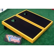 Victory Tailgate Matching Border Cornhole Bean Bag Toss Game; Black with Yellow Gold Trim