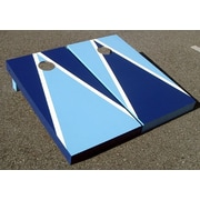 Victory Tailgate Alternating Triangle Cornhole Bean Bag Toss Game; Light Blue and Blue