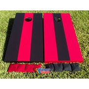 Victory Tailgate Alternating Striped Cornhole Bean Bag Toss Game; Red and Black without Stripes