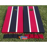 Victory Tailgate Alternating Striped Cornhole Bean Bag Toss Game; Red and Black