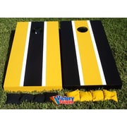 Victory Tailgate Alternating Striped Cornhole Bean Bag Toss Game; Yellow Gold and Black