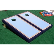 Victory Tailgate Matching Border Cornhole Bean Bag Toss Game; Light Blue and Navy w/Birch Sub Border