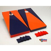 Victory Tailgate Alternating Triangle Cornhole Bean Bag Toss Game; Orange and Navy Blue