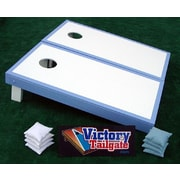 Victory Tailgate Matching Border Cornhole Bean Bag Toss Game; White with Light Blue Trim