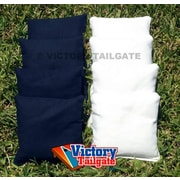Victory Tailgate Weather Resistant Cornhole Bags (Set of 4); White and Navy Blue