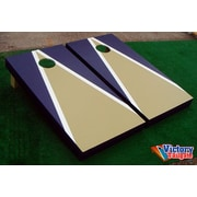 Victory Tailgate Matching Triangle Cornhole Bean Bag Toss Game; Light Gold and Navy Blue