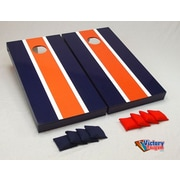 Victory Tailgate Matching Striped Cornhole Bean Bag Toss Game; Orange and Navy Blue
