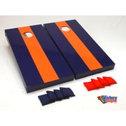 Victory Tailgate Matching Striped Cornhole Bean Bag Toss Game; Navy Blue and Orange without Stripes