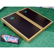 Victory Tailgate Matching Border Cornhole Bean Bag Toss Game; Black with Dark Gold Trim